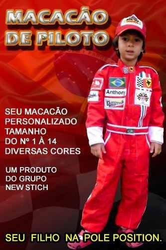 319a425263 Macacão Dos Carros Piloto Infantil Festa Aniversário Corrida - R  118