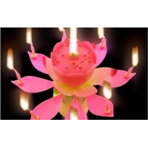 Vela Magica Musical Giratoria Flor Pastel Eventos Bengala