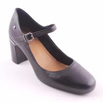 Sapato Feminino Usaflex Salto Quadrado Preto Promoção 584711