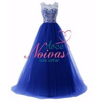 Vestido Madrinha Formatura Debutante Azul Pronta Entrega Gg