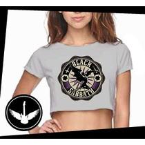 Blusa Cropped Black Sabbath Banda Rock Camisa Feminina Cinza