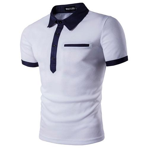 Camisa Polo Masculina Branca Com Bolso Slim Fit Frete Grátis - R  112 66bc7a7d2a918