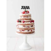 Aplique Torta Decoracion Madera 20cm Frase Nombre Cumple 15