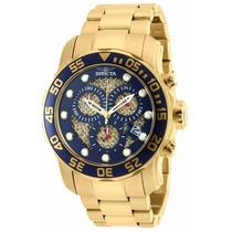 Relógio Invicta 90172 Pro Diver Dourado Azul Na Caixa Em 12x