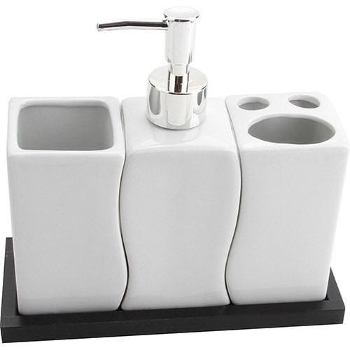 Kit Para Bancada De Banheiro Em Porcelana : Kit banheiro porcelana saboneteira liquido porta sabonete