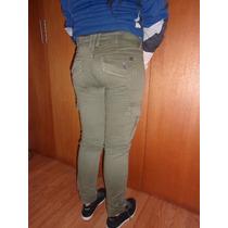 Pantalón De Dama Jean, Cargo O Carpintero, Verde Militar