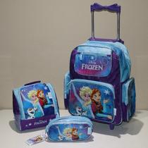 Mochilete Infantil Escolar Frozen + Lancheira + Estojo