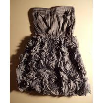 Vestido Strapless Escote Corazon Gris Pollera Tul Flores S