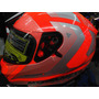 Casco Mt Blade Sv Reflexion Orange Doble Visor En Caja Funda