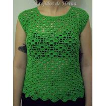 Musculosa Calada De Algodón Tejida En Crochet