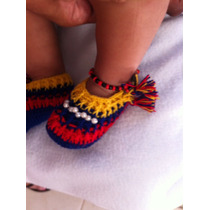Zapatos Y Cintillo Crochet Tricolor
