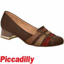 Sapato Piccadilly Salto 3,5cm Conforto Marrom Degradê 141059