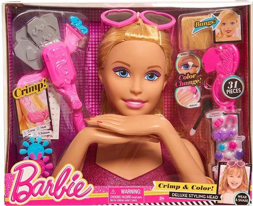 Doll Head Hair Styling: Just Play Barbie Cabeza Para Peinar Color, Crimp
