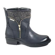 Botas Mujer Invierno Zapatos Chocolate Cierre Tachas 406138