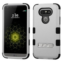 Funda Protector Triple Layer Lg G5 Gris C/pie Metalico