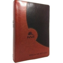 Bíblia De Estudo Nvi Capa Luxo Marrom Duotone