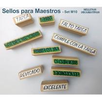 20 Sellos De Goma Para Calificar Set De Textos Español
