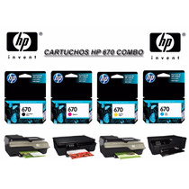 Combo Hp 670 Negro /colores Dj 4615/3525/4625/5525 St