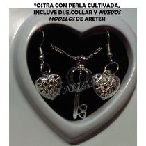 Perla Cultivada En Ostra Real+dije,collar+aretes Regalo Amor