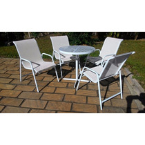 Conjunto,cadeira,tela Sling,alumínio,aréaexterna,jardim