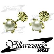 Aros De Oro 18k 1.3 Gr Perlas Cultivadas