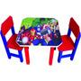 Mesinha Didática Infantil Escolar Com 2 Cadeiras Em Madeira