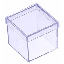 100 Caixinhas Caixas De Acrílico Transparente Rosa Azul 4x4