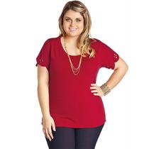 Blusa Feminina Plus Size Manga Curta Vermelha Para Gordinha!