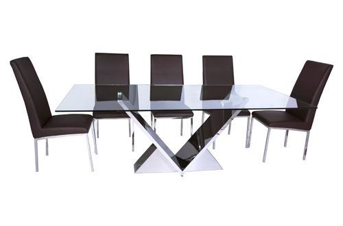Mesa De Comedor Cristal Acero Inox Viterbo 12 Msi - $ 26,000.00 en ...