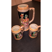 Jarra De Cerveza Alemana Autentica + 2 Vasos - Impecables