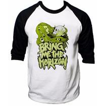 Camisa Raglan 3/4 Bring Me The Horizon Rock Camiseta Skull