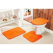 Jogo De Tapete Para Banheiro 3 Peças De Pelucia Cor Laranja