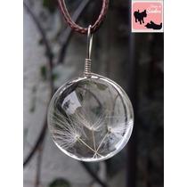 Exclusivo Collar Esfera De Vidrio Con Dientes De Leon Blanco