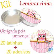 Kit Lembrancinha Corujinha Latinha De Metal - Adesivo