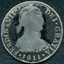 Moneda Perú 1811 2 Reales Jp Km#104.2 (b Imaginario) (plata)