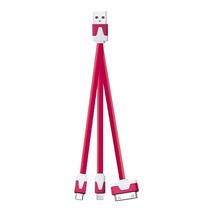 Kit 10 Cable Plano Multicargador Usb 3 Salidas Mitzu