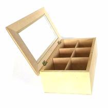 Caja De Te X 6 Divisiones Con Vidrio En Fibrofacil