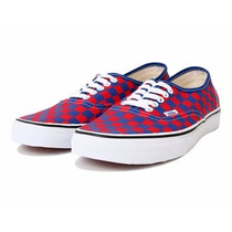 Vans Men Red And Blue Checked Authentic Casual Vn-0w4ndi1