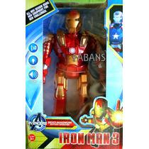 Muñeco Iron Man Camina Luz Sonido Vengadores Juguete Niño