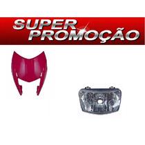 Carenagem Do Farol + Bloco Otico Nxr Bross 150 Vermelho 2011