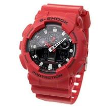 Relógio Casio G-shock Ga100b4adr Vermelho Com Fundo Preto