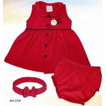 Vestido Rojo De Niña Con Cintillo Y Pantaleta Ropa Bebe 3pza