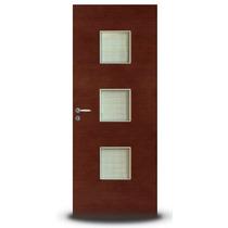 Puerta Placa Oblak Premium Quadra Caoba 70x200 Marco Madera