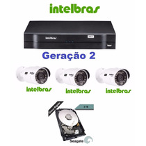 Kit Intelbras 1 Dvr 1016 G2 + 3 Vhd 3120 + Hd 3tb Seagate