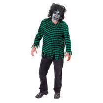 Zombie Traje - Máscara Adulto Y Camisa Verde De Halloween
