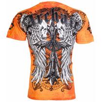 Remera Archaic Affliction Men T-shirt Lustrous Skulls Wing T
