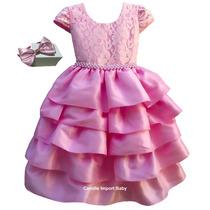 Vestido Festa Infantil Luxo Princesa Realeza Barbie Minnie