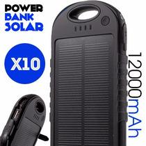 Lote 10 Power Bank Solar 12,000 Mah Portatil Bateria Usbdual