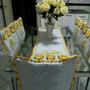 Jogo De Capas 4 Cadeiras + Trilho De Mesa De Crochê