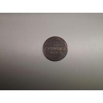 Moeda Alemanha Saxonia 2 Pfennig 1853 -f- Cobre